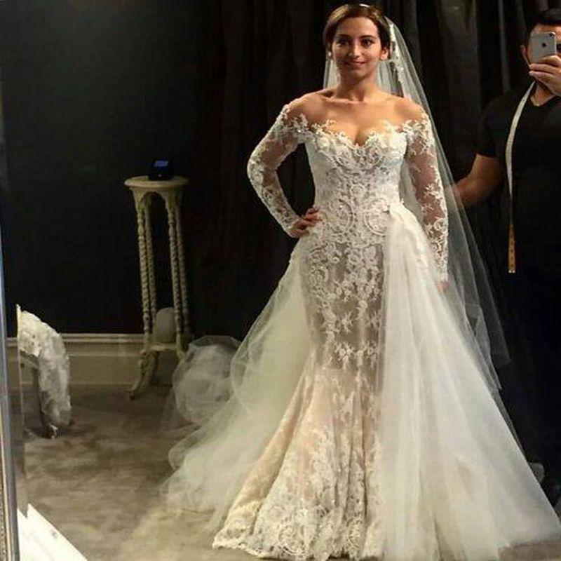 Off Shoulder Long Illustion Sleeve Wedding Dresses With