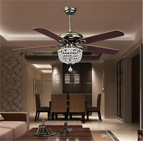 Retro Ceiling Fans Luxury Crystal Light Lamp with Remote Control 42     Retro Ceiling Fans Luxury Crystal Light Lamp with Remote Control 42 inch  220V 110V Modern Ceiling Fans Lights with Antique Wood Blade Ceiling Fans  Lights