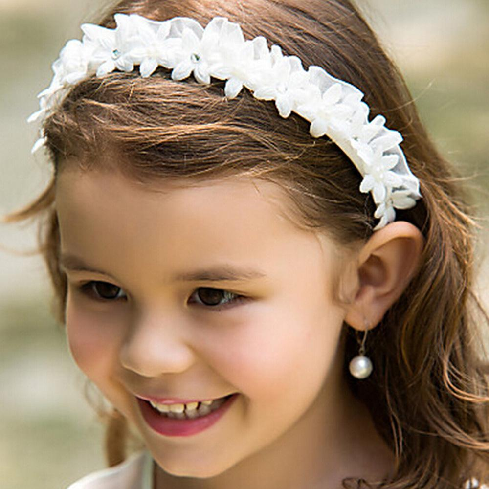 White Flower Girl Headbands Wedding Hair Accessories For