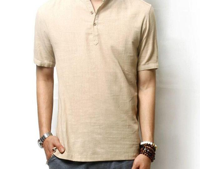 Mens Linen Shirt Casual Short Sleeve T Shirt Solid Loose Breathable Shirts Men Chinese Style Brand Clothing Cool Tee Shirts Cool Tees From Denya