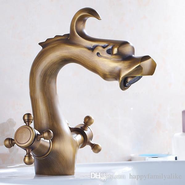 2018 extravagant antique brass dragon faucet artistic brass