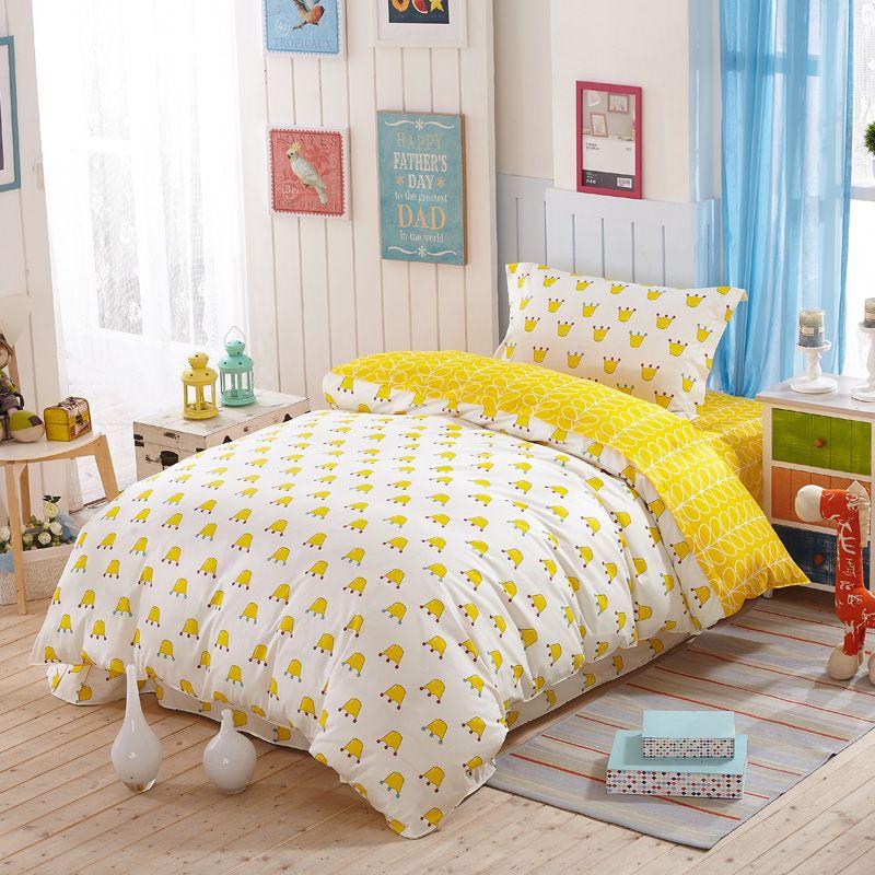 100 Cartoon Kids Crown Yellow Bedding Sets Kids Blue Twin