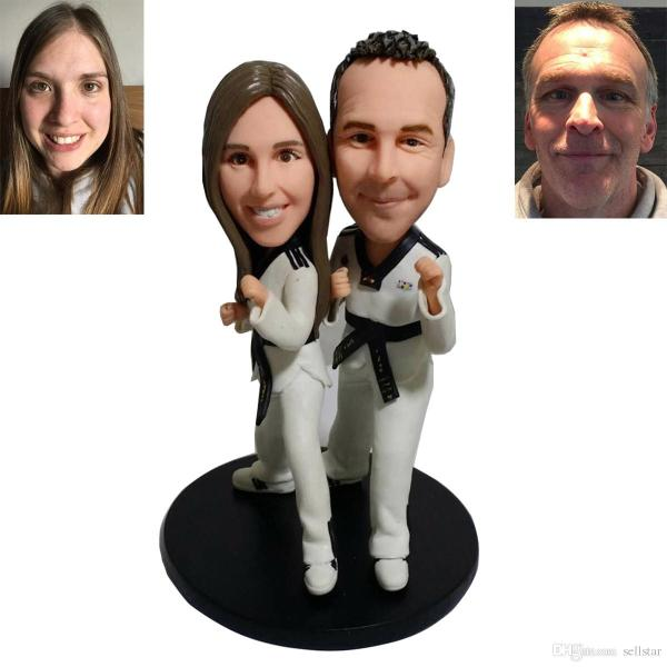 Personalized Wedding Cake Toppers Custom Made Clay Taekwondo Bride     Personalized Wedding Cake Toppers Custom Made Clay Taekwondo Bride   Groom  Porcelain Birthdayt Cake Toppers Wedding Favors Wedding Gift Vintage Wedding