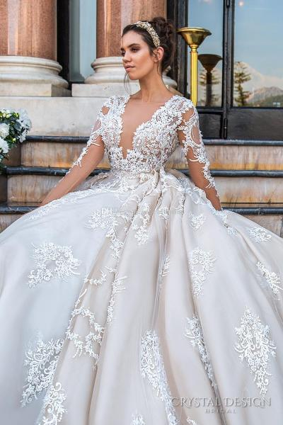 Discount Keyhole Back Monarch Train Princess Wedding Dresses 2017     Discount Keyhole Back Monarch Train Princess Wedding Dresses 2017 Crystal  Design Bridal Long Sleeves Plunging V Neck Sexy Ball Gown A Line Wedding  Debenhams
