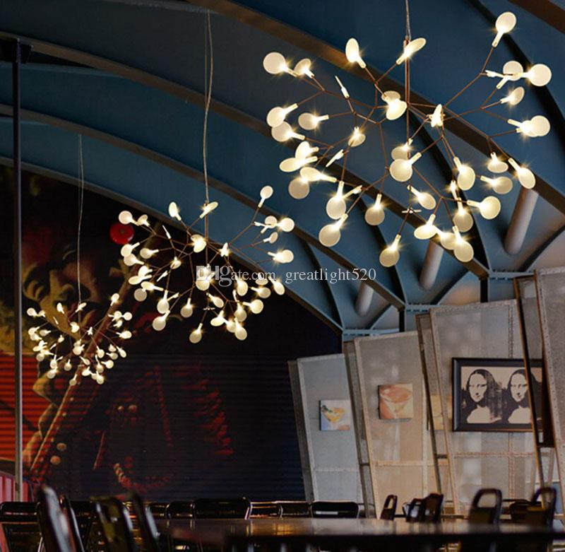 New Arrival Firefly Led Chandelier Acrylic Lamp Branch Ceiling Light Rose Golden Metal Branches