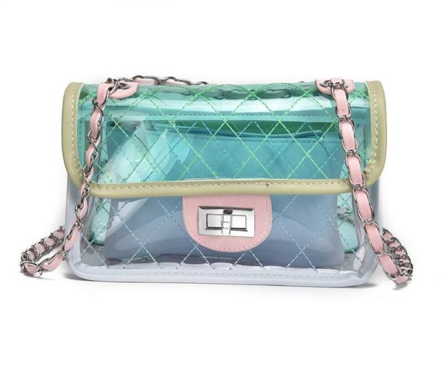 Women Bag Fashion Female Handbag High Quality Transparent Shoulder Bag Clear Pvc Jelly Chain Candy Crossbody Bag Sac A Main Christmas New Online With