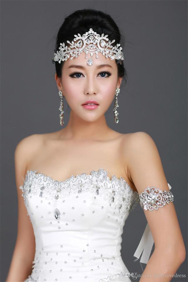 vintage wedding bridal bridesmaid crystal rhinestone diamond forehead hair accessories tassel headband crown tiara princess headpiece silver