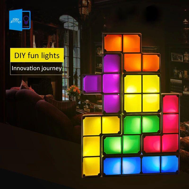 acheter 7 couleurs bricolage puzzle tetris lumiere empilable led lampe de bureau bloc constructible lumiere de nuit tour de jeu retro bebe brique coloree