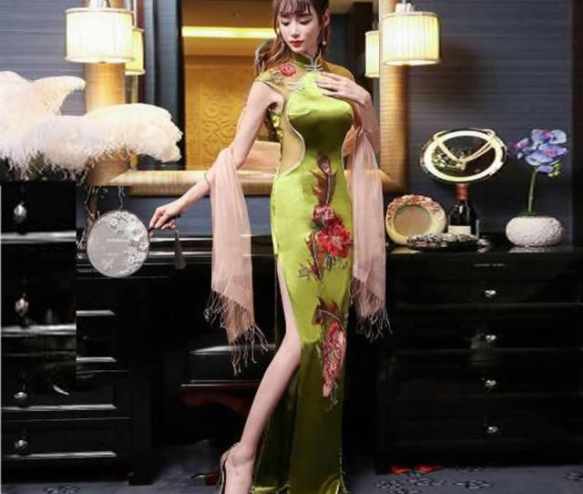 2019 Sexy Modern Chinese Tradition Ladies Wedding Dresses 2017 Korean Long Cheongsam Dress Qipao Perspective Vestido Oriental Style From Carawayo