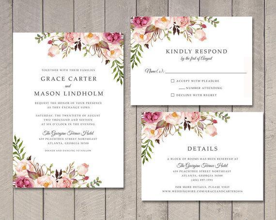 Floral Wedding Invitation RSVP Details Card Wedding Card