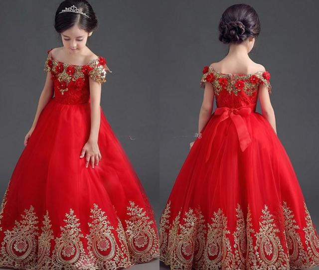 Beauty Red Girls Pageant Dresses Off Shoulder Applique Lace Ball Gown Flower Girls Dress For Wedding Communion Teens  Lil Girl Pageant Dresses Little