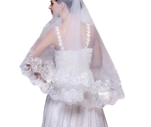 Ivory White Wedding Veils   Meter Long Cathedral Bridal Veils Chapel Soft Tulle Lace Appliques Wedding Accessories Veu De Noiva  Meter Long Wedding