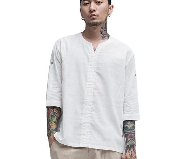 Mogelaisi Linen T Shirt Men New Summer Half Sleeve White Topstee Cotton Linen Chinese Style Retro Tshirt Man Clothing  Silly T Shirts Interesting T