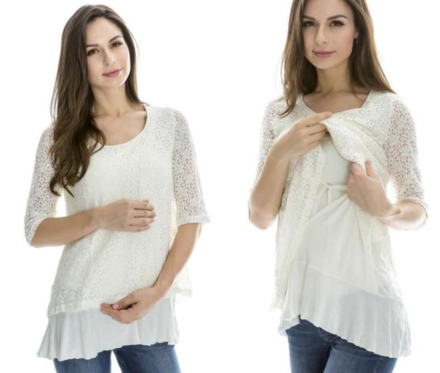 Emotion Moms Lace Maternity Clothes Nursing Breastfeeding Tops For Pregnant Women T Shirt Spring Maternity Tops Feeding Clothing From Sport_xgj