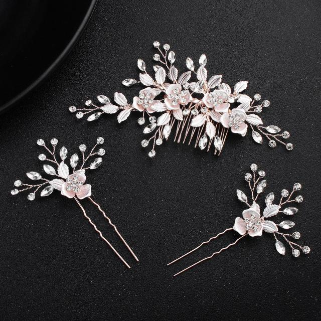 2018 pink flower women hair comb 2pcs hairpins handmade wedding hair accessories crystal bridal hairpieces jewelry jch193