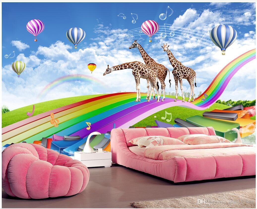Acquista Carta Da Parati 3d Camera Personalizzata Foto Giraffa Arcobaleno Ponte Nella Camera Dei Bambini 3d Murales Carta Da Parati Pareti 3d Tessuto