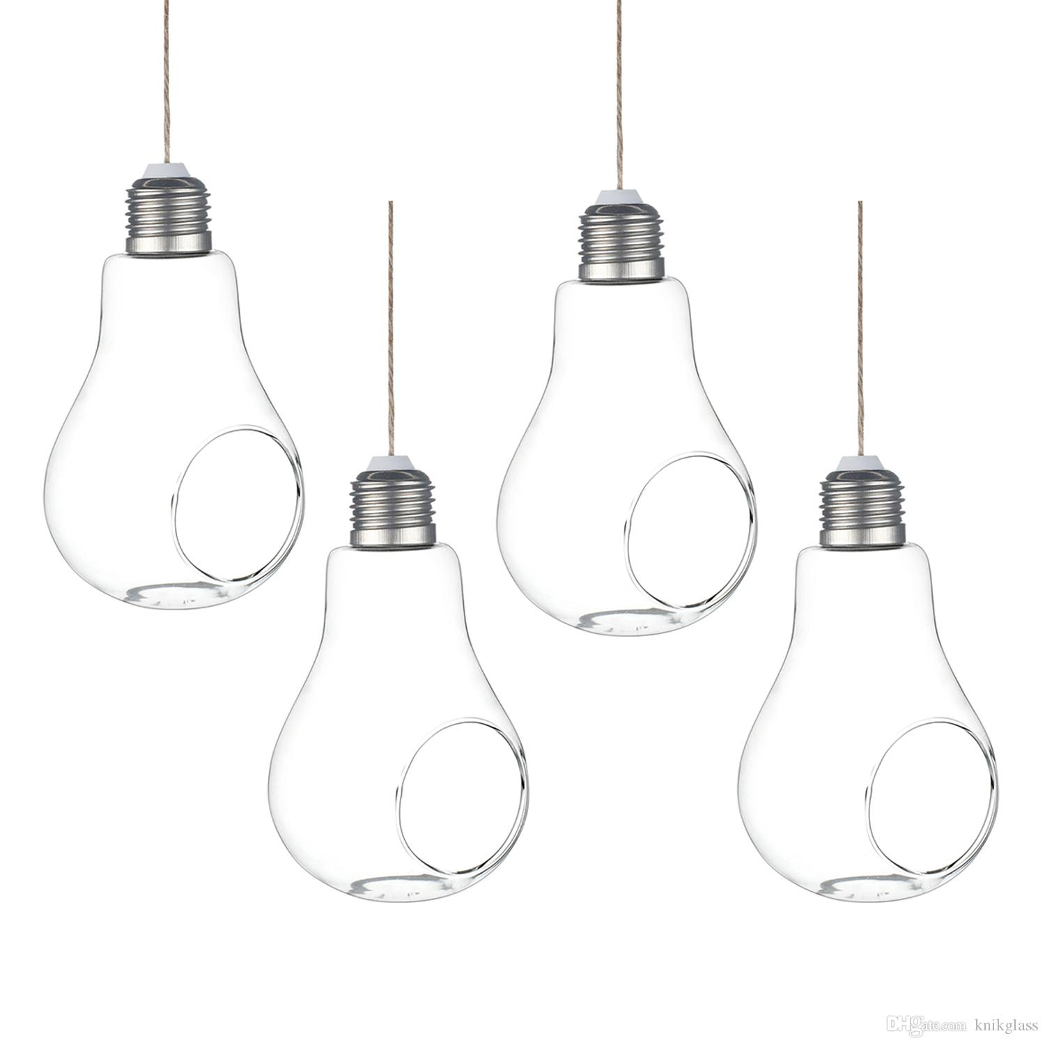 Pack Of 4 Light Bulb Shape Plant Terrariums Hanging Glass