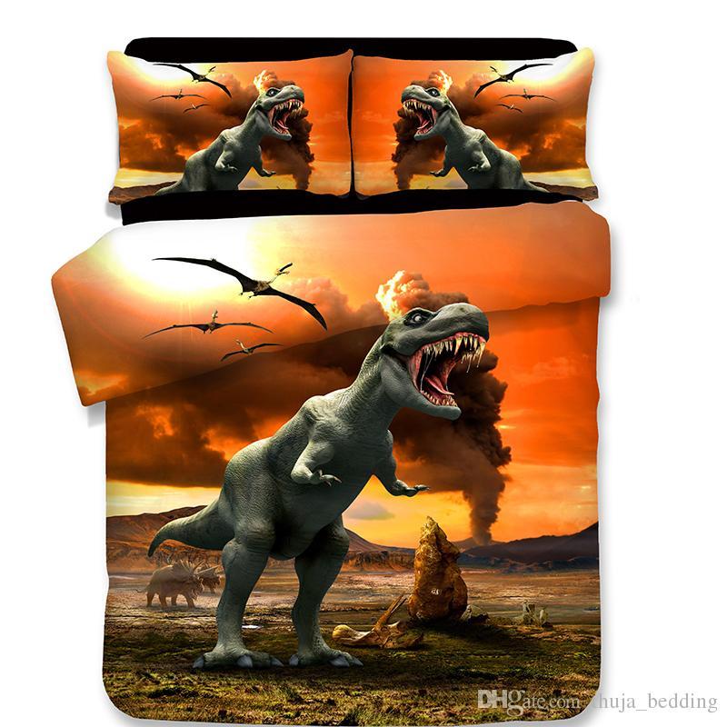 acheter 3d dinosaure ensemble de literie animalerie taies d oreiller de mode style de dessin anime duvet couvre reine king taille imprime polyester