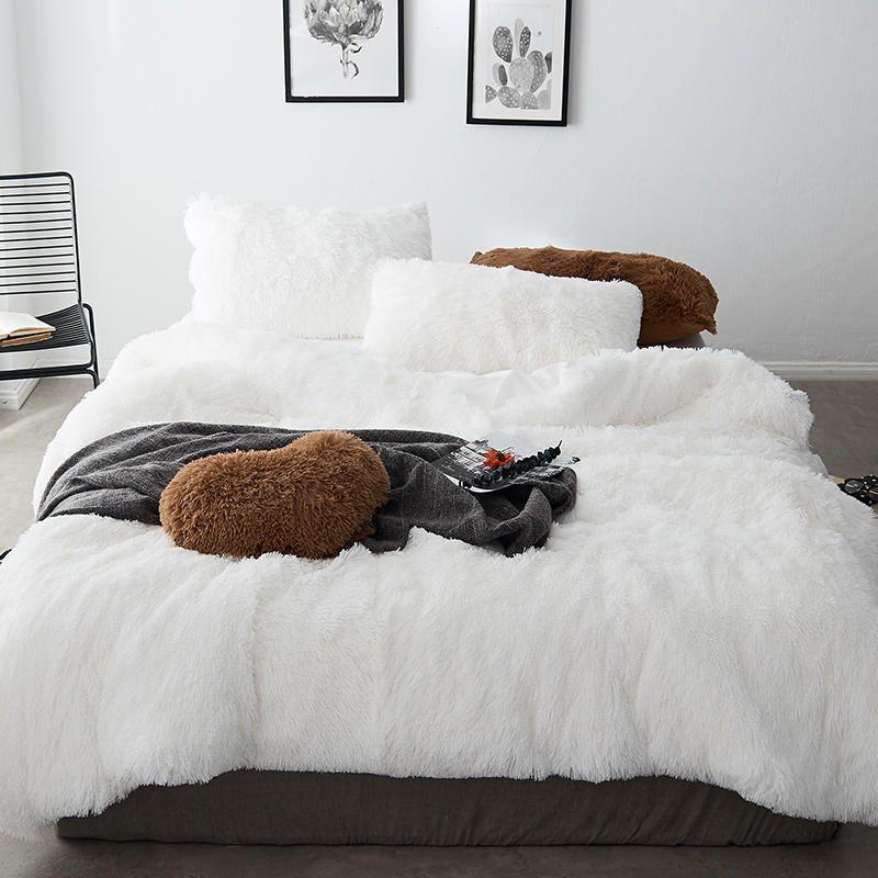 acheter hiver chaud thinken ensembles de literie coral polaire cheveux longs cachemire housse de couette ensemble literie linge de lit de 158 61 du lienal