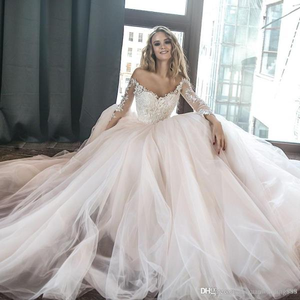 Blush Lace Princess Ball Gown Wedding Dresses 2018 Long Sleeves Off     Blush Lace Princess Ball Gown Wedding Dresses 2018 Long Sleeves Off the  Shoulder Sweetheart Neckline Heavily Embellished Bodice Lace Wedding Dresses  Ball