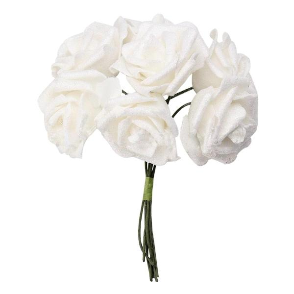 7 Foam Rose Artificial Flower Glitter Bridal Bouquet Home Wedding     7 Foam Rose Artificial Flower Glitter Bridal Bouquet Home Wedding  Decoration White Foam Decoration Glitter Artificial Flowers Decor White  Online with
