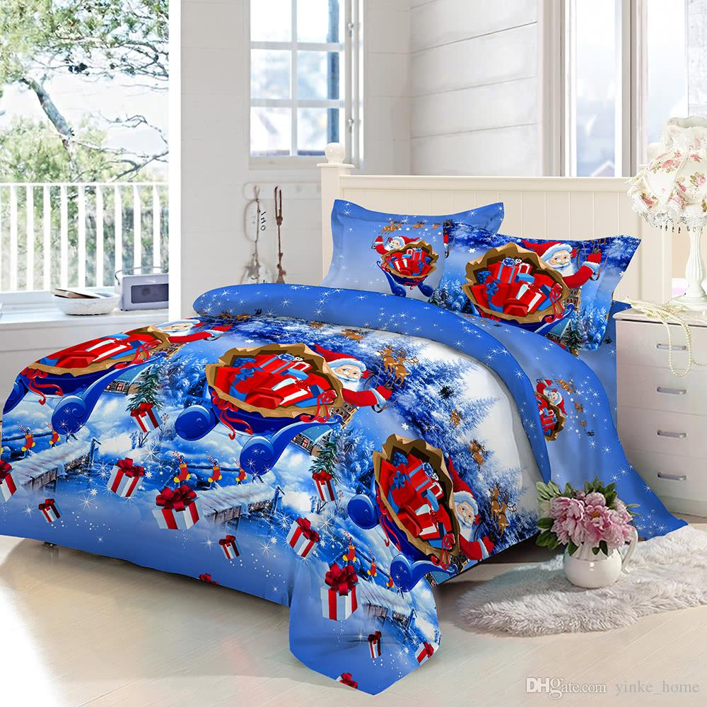 acheter la literie ajustee de drap de polyester a place les ensembles de literie de santa santa avec les taies d oreiller imprimees par 3d de couverture de