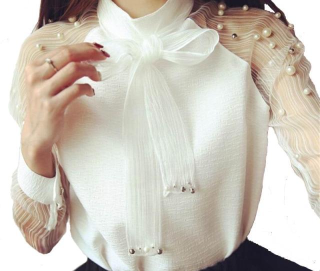 Chiffon Shirts Long Sleeves Shirt Elegant Organza Bow Pearl White Blouse Casual Fashion Shirt Women Blouses Tops Blusas Femininas Chiffon Shirt Women