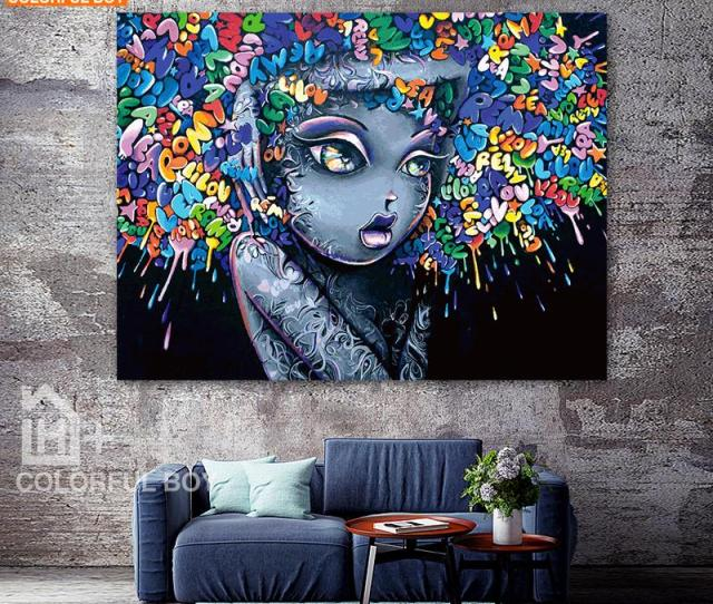 Colorfulboy Modern Creative Abstract Girl Graffiti Canvas Painting For Kids Room Wall Art Posters And Prints Wall Pictures Decor Canvas Painting Graffiti