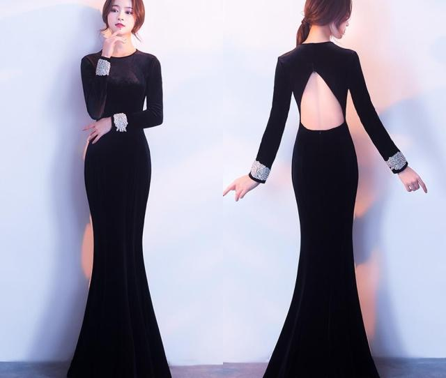 Elegant Black Long Tail Winter Evening Dresses T Shirt Fashion Back Velveteen Long Sleeved Hollow Ball Gown Hy Top Evening Dresses Best Evening Dresses