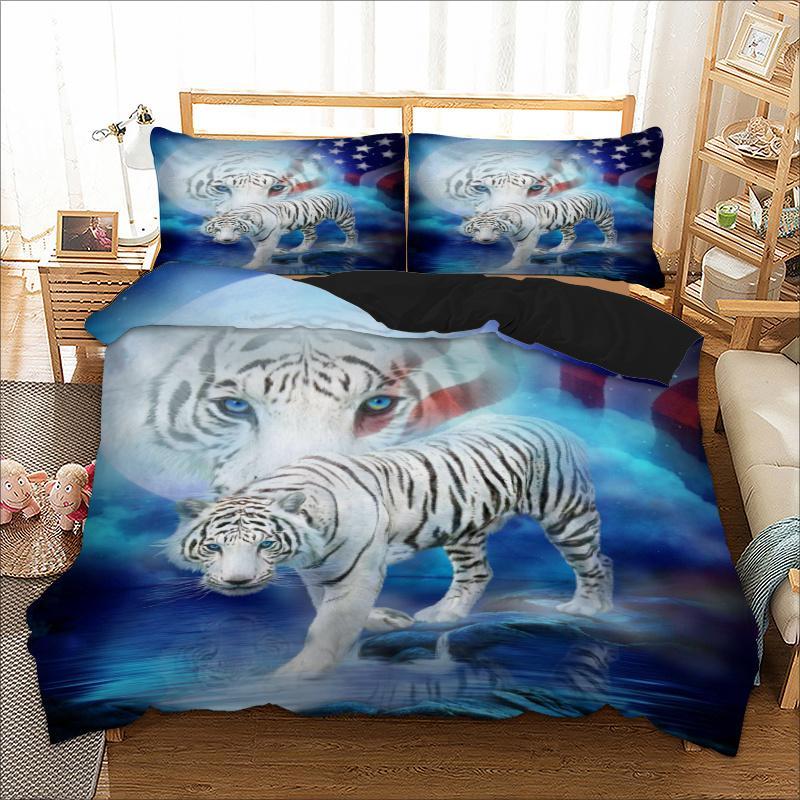 acheter ensemble de literie tiger twin queen full king au unique uk double taille animal housse de couette taie d oreiller 3d linge de lit set de 62 72 du