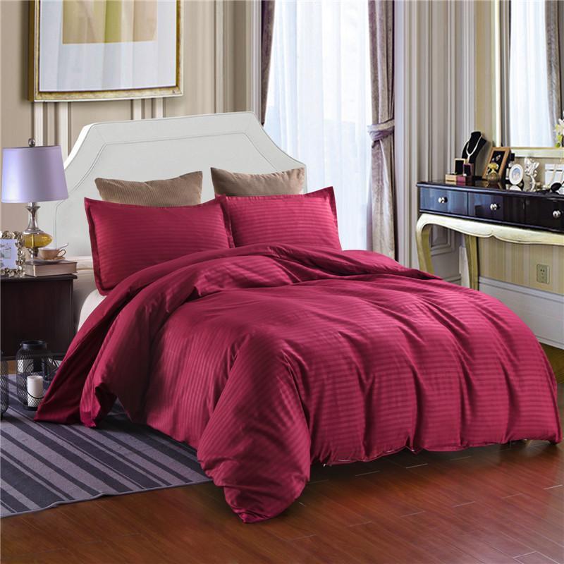 acheter ensemble de literie en satin raye de couleur unie reine king size ensembles de lit en tissu de polyester pour la maison d hotel utilisation taies