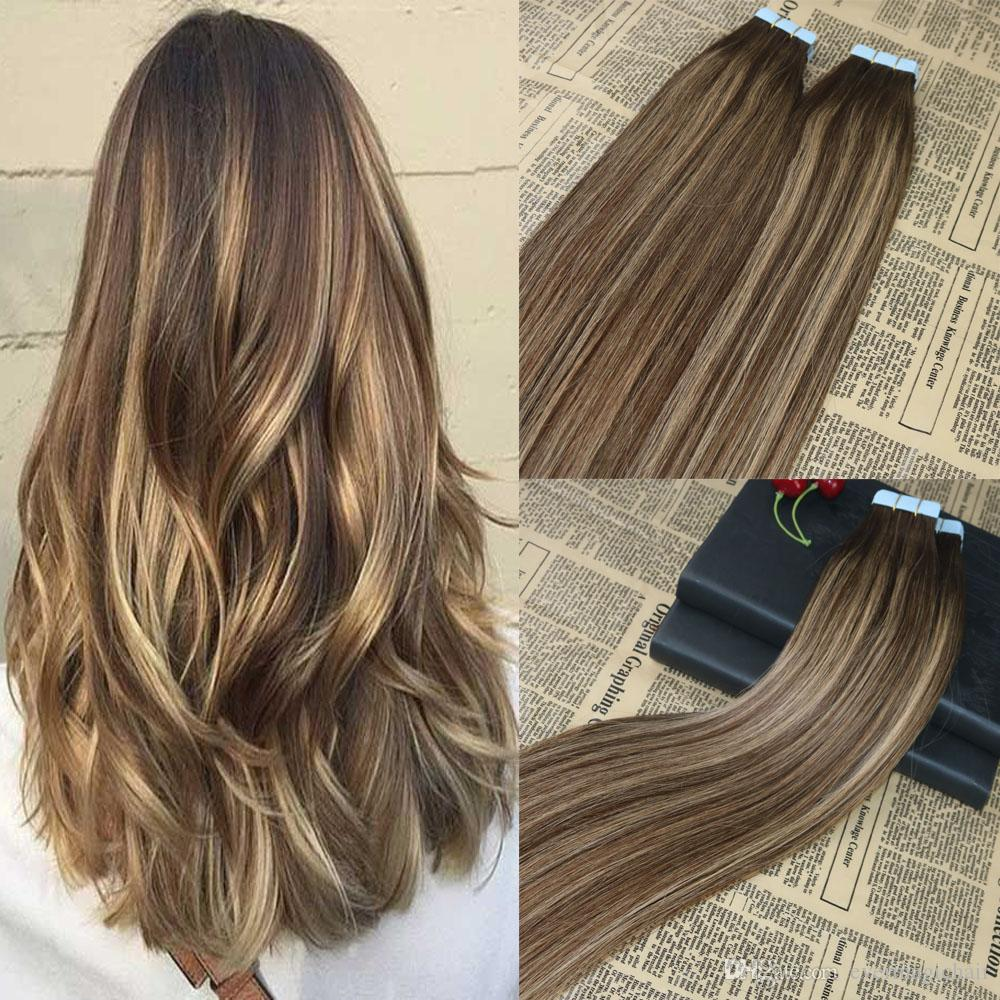 100 Human Hair Tape In Extensions Balayage Highlighted