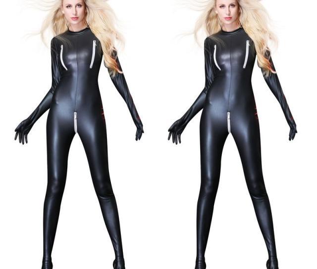 Women Sexy Patent Leather Jumpsuit Bondage Zentai Catsuit Wetlook Pu Latex Leotard Zipper Open Crotch Bodysuit Erotic Clubwear