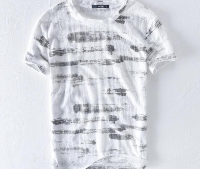 Fashion Linen T Shirt Men  New Summer Striped Short Sleeve Tops  Cotton Flax Comfortable Soft Breathable Tees Asian Size Funky T Shirts Cool T Shirt