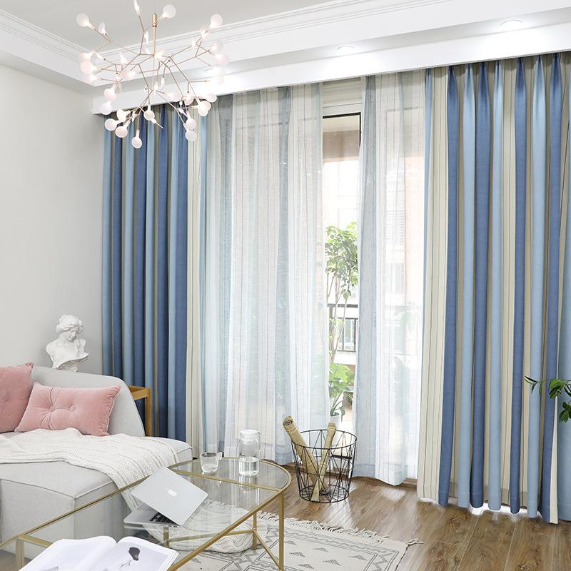 Compre Blackout Stripe Cortinas Para Sala De Estar Hotel ...