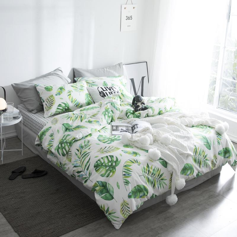 acheter 2018 ete coton vert feuille ensembles de literie double reine unique ensemble pour housse de couette draps taie d oreiller literie haut de gamme de