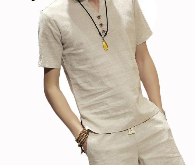New Summer Linen T Shirt Men Breathable Short Sleeve Shirt Quick Dry Casual V Neck Tees Plus Size Xl Men Brand Beach Tees Mts Womens Shirt T Shart From