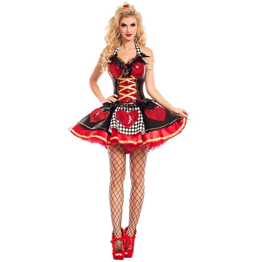 Nuovo Di Alta Qualità Alice Nel Paese Delle Meraviglie Il Costume Da Regina Rossa Abito Per Adulti Donne Sexy Costume Cosplay Di Halloween