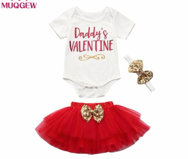 Newborn Infant Baby Girl Daddys Valentine Letter Romper Topstutu Skirtheadband Valentines Day Outfits Set Baby Gifts From Curd   Dhgate Com