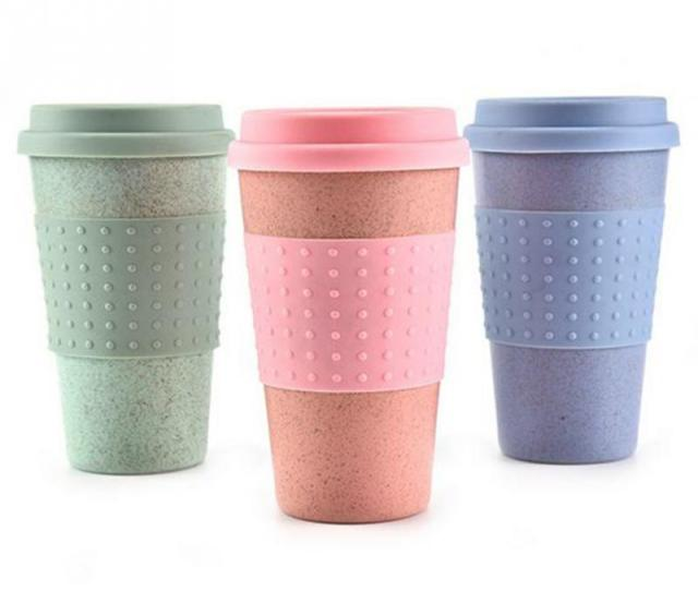 Wheat Straw Plastic Coffee Cups Travel Coffee Mug With Lid Travel Easy Go Cup Portable For Outdoor Camping Hiking Picnic Plastic Coffee Cups Travel Coffee