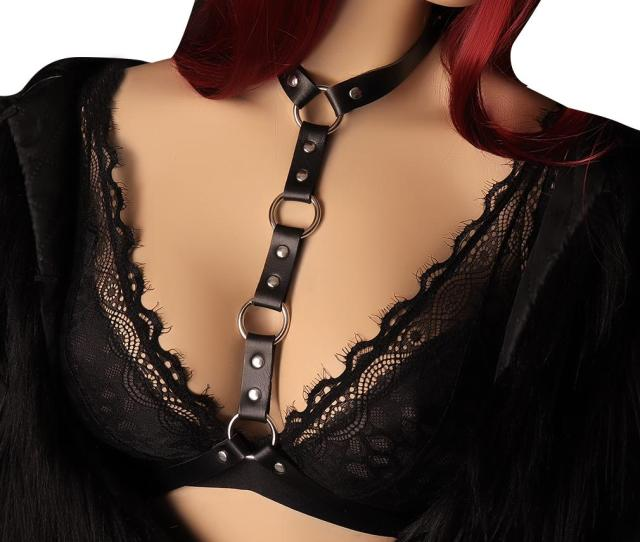 2019 Body Cage Women Leather Body Harness Neck Bondage Lingerie Black Sexy Tops Breast Bra Punk Goth Harajuku Fetish Full Dance Wear From Jiangfengzongya