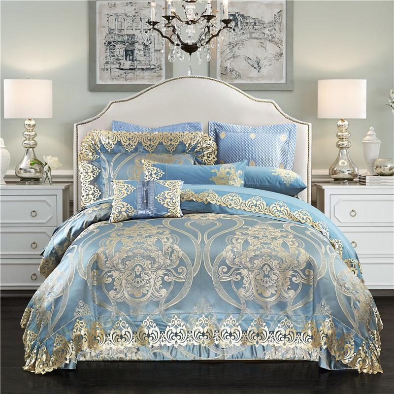 acheter ensembles de literie jacquard en coton de satin de soie royal luxe reine roi taille 4 6 lit de mariage propagation draps de lit bleu dore de
