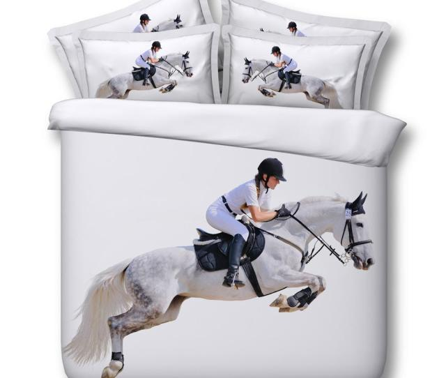 3d White Horse Bedding Sets Animal Duvet Cover Bedspreads Comforter Cover Bed Linen Quilt Covers Bed Cover For Adults Boys Men Discounted Bedding Down