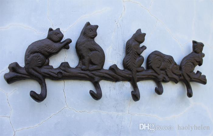 acheter 3 pieces en fonte decorative porte manteau 5 chats avec 5 crochets porte porte clefs suspendus decoration murale porche cabane lodge antique vintage
