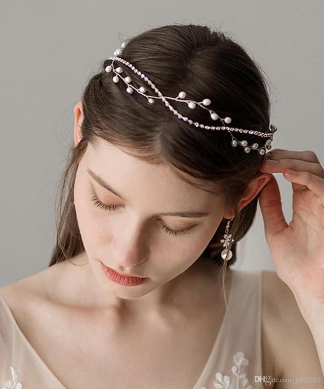 wedding hair vine headband silver rhinestone and pearl bridal vine acessories wedding hairstyle for bride and bridesmaid