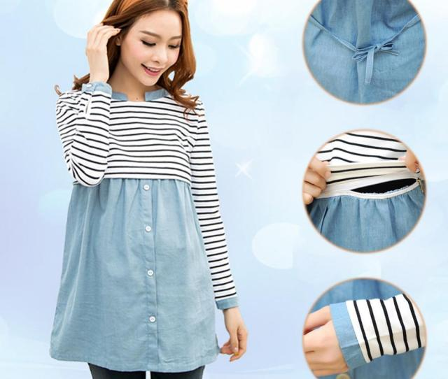 Fashion Spring Maternity Clothes Patchwork Long Sleeve Nursing T Shirts For Pregnant Women Striped Casual Breastfeeding Tops From Yuan