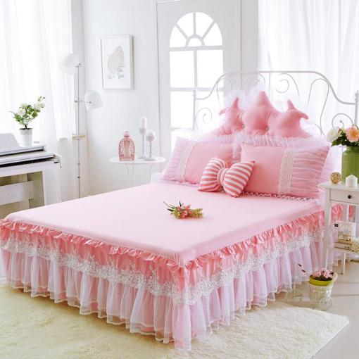 Korean Princess Dream Bed Skirts 100  Cotton Lace Bedding Double     Korean Princess Dream Bed Skirts 100  Cotton Lace Bedding Double Wide Twin  Full Queen King Size Pink Bed Skirts Pillowcase Linen Bedskirt Crib Dust  Ruffle