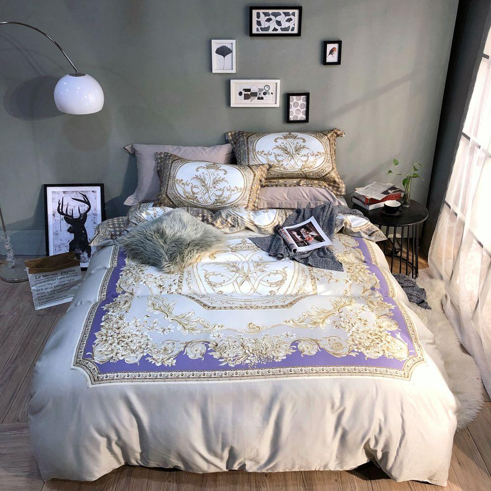 acheter 2018 europeenne a carreaux gris literie coton egyptien housse de couette ensemble grand lit king size couvertures de taie d oreiller de 167 2 du
