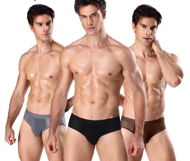 Helisopus Mens Modal Briefs Mesh Breathable Underwear Asian Size L Xxxl Solid Color Briefs Men Sexy Underwear