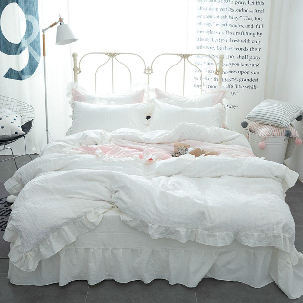 acheter ensemble de drap de lit housse de couette en dentelle de style princesse coreenne 100 coon lave blanc rose bleu uni de 144 79 du adeir